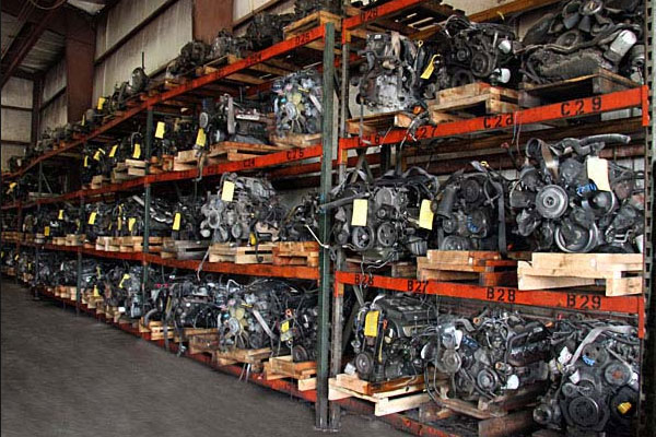Engines and transmissions stored in the ToyAuto Mart warehouse